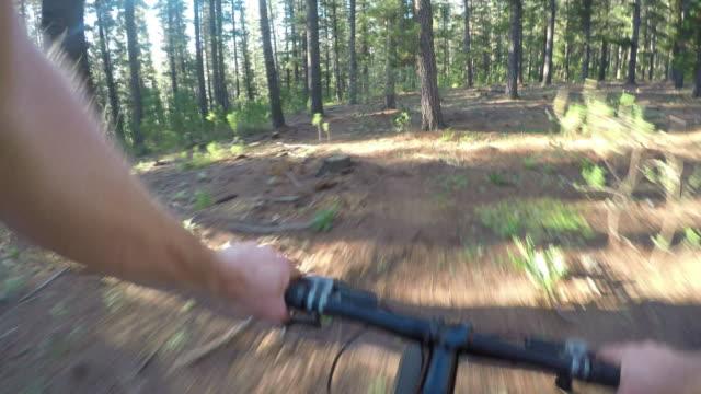 vídeos y material grabado en eventos de stock de bicicleta de montaña a lo largo de un camino de tierra - pov - manillar