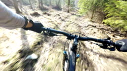Mountain bike speed ride in woods, personal perspective cycling 4K 30fps.