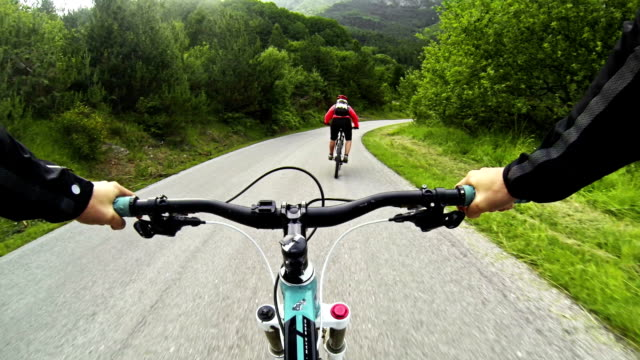 mountain bike video: long descent on the road - dirt track stock videos and b-roll footage