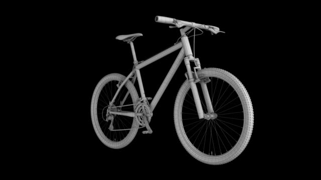 mountain bike wire frame rotating loop isolated with luma matte - model object stock videos & royalty-free footage