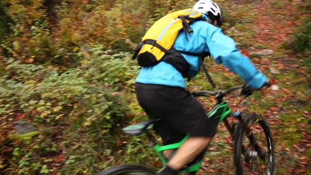 Mountain biker ascends trail through autumn forest