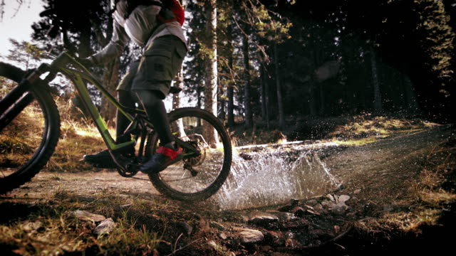 speed ramp mountain biker crossing a forest puddle in sunshine - andare in mountain bike video stock e b–roll