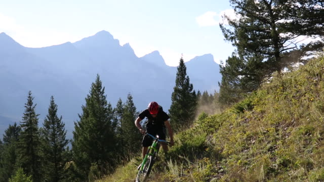 mountain biker descends steep slope, from treed ridge crest - nur junge männer stock-videos und b-roll-filmmaterial