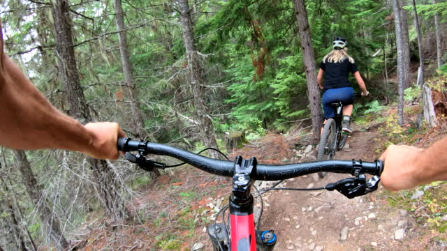 vídeos de stock e filmes b-roll de pov of mountain biker following female companion, in forest - andar de bicicleta de montanha