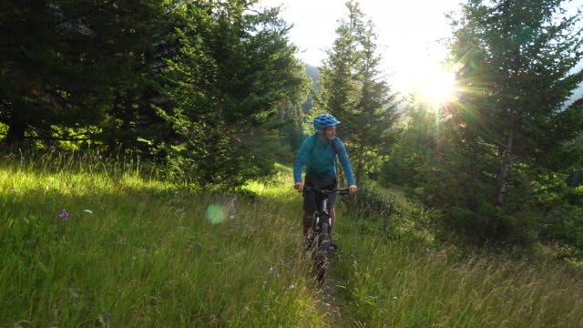Mountain biker follows path through meadow, sun rises over mountains behind