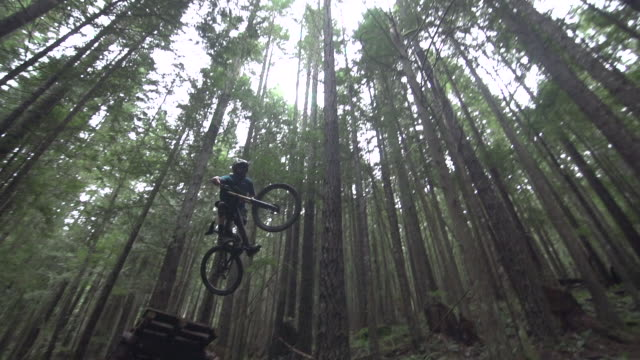 a mountain biker going off jumps in a forest on a mountain. - super slow motion - filmed at 240 fps - solo uomini giovani video stock e b–roll