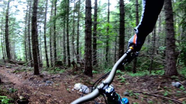 Mountain biker point of view descending rugged west coast trail