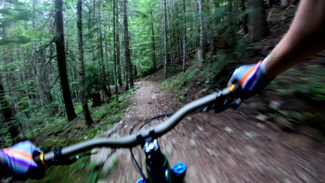 mountain biker point of view following young woman down rugged west coast trail - mountain bike stock videos & royalty-free footage