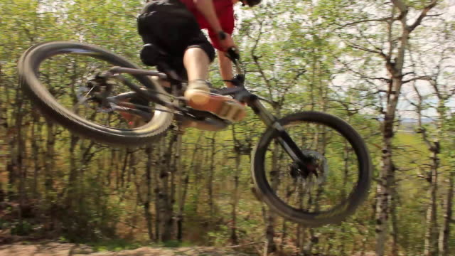 a mountain biker rides on a singletrack trail in the forest. - mountain bike video stock e b–roll