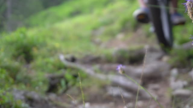 a mountain biker rides on a singletrack trail in the rain. - human limb stock videos & royalty-free footage