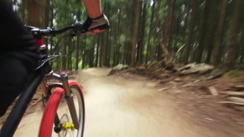vidéos et rushes de pov mountain biker riding downhill in green forest - faire du vélo tout terrain