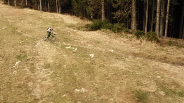 AERIAL Mountain biker riding his bike on a forest trail