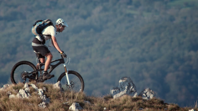 Mountain biker riding on the beautiful plateau