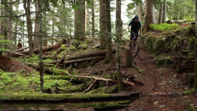 mountainbiker durchquert waldweg auf schmalem weg - mountainbike stock-videos und b-roll-filmmaterial