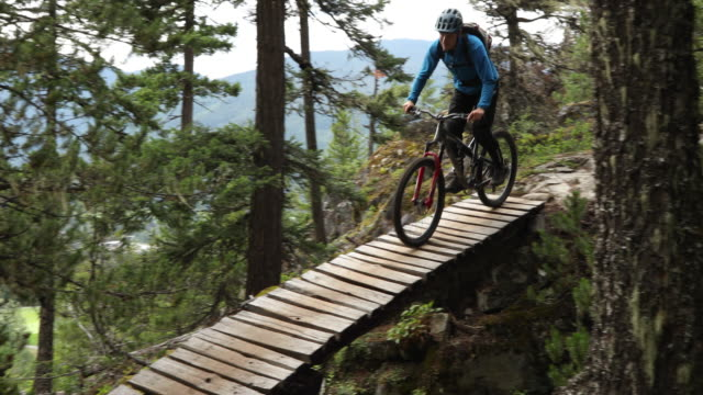 mountain biker traverses forest trail with speed - mountain biking stock videos & royalty-free footage