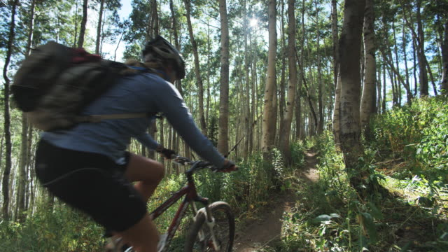 stockvideo's en b-roll-footage met mountain bikers biking through a grove of trees - elasthaan