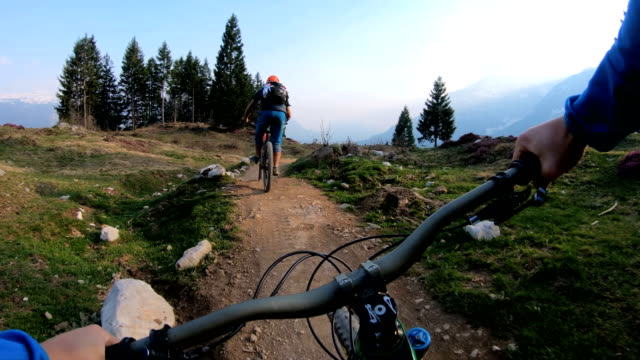 POV of mountain bikers descending alpine trail