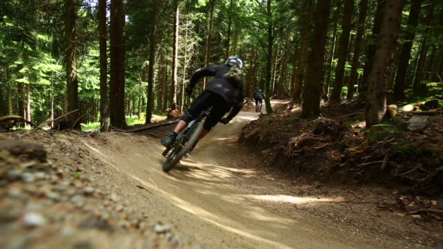 Mountain bikers riding downhill in green forest