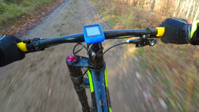 mountain biking through a forest in autumn. - trail ride stock videos and b-roll footage