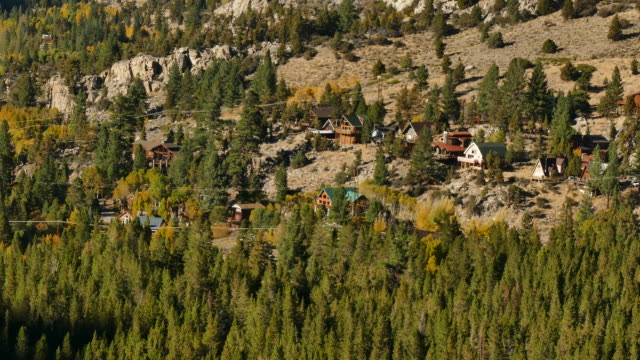 mountain cabins on the june lake loop in the sierra nevada mountain range camera zooms out wide to show silver lake, california, automn, - northern california stock videos & royalty-free footage