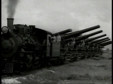 mountain cliff side beach waves foliage fg vs us military train w/ rows of cannons large field of soldiers standing up in formation marching... - 1937 stock videos and b-roll footage