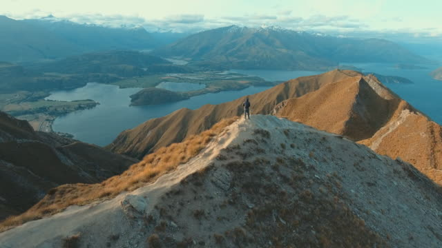 mountain climber at  wanaka - aerial view stock videos & royalty-free footage