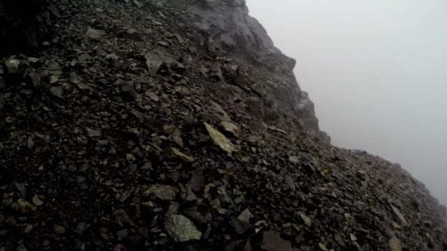 mountain climbing, walking, hiking in low-visibility, black cuillin, isle of skye - shaking stock videos & royalty-free footage