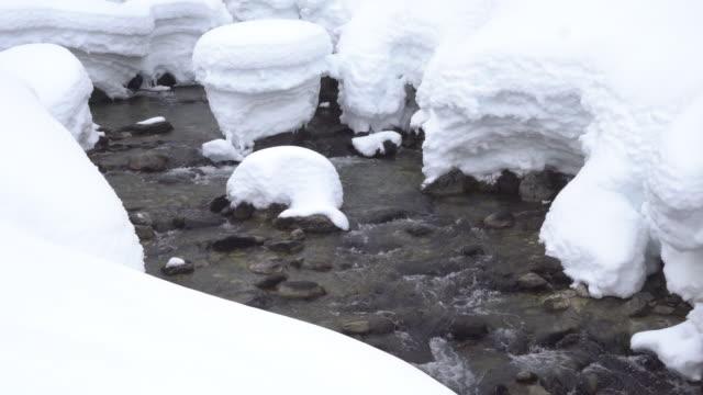 Mountain creek flows between giant stacks of snow