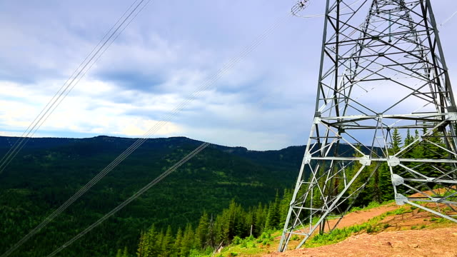 mountain high voltage power lines - power cable stock videos & royalty-free footage