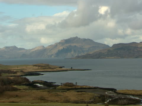 vidéos et rushes de mountain islands in distance, calm sea, picture postcard, relaxing, tranquil - mull