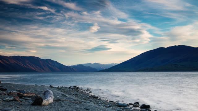 time lapse: mountain lake otago new zealand - otago region stock videos & royalty-free footage