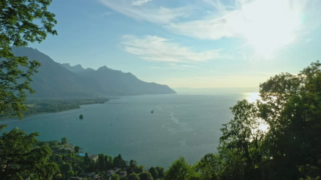 mountain lake view in switzerland - switzerland stock videos & royalty-free footage