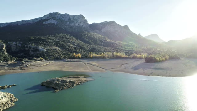 mountain lake with dam. aerial view - balearic islands stock videos and b-roll footage