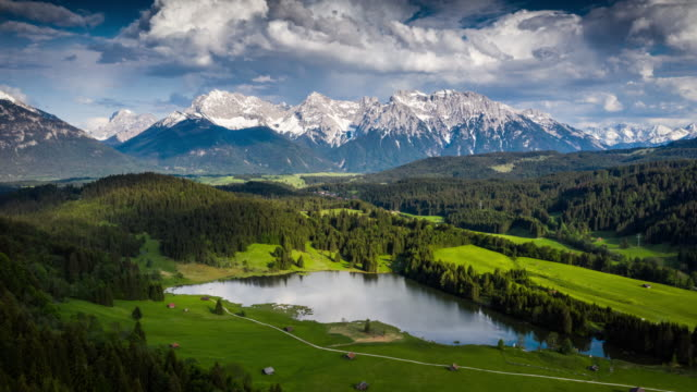 mountain landscape in germany - aerial hyperlapse - baviera video stock e b–roll