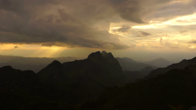 mountain landscape with sunset and cloudscape - full hd format stock videos & royalty-free footage