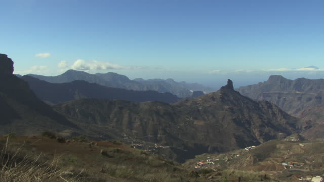 ws mountain landscape with view of roque bentaiga / gran canaria, spain - grand canary stock videos & royalty-free footage