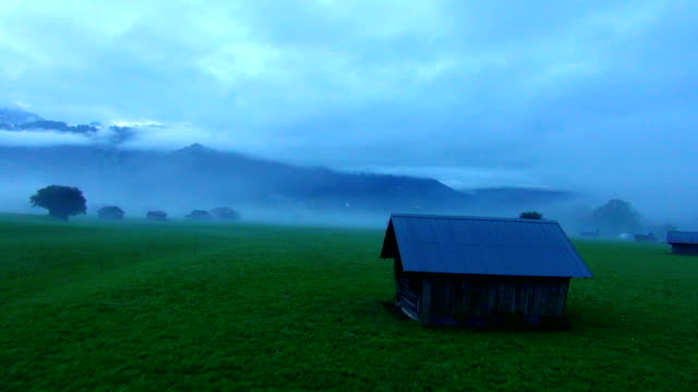 Mountain meadow in fog