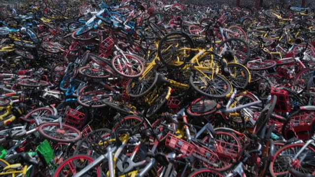 A mountain of discarded hire bikes in Beijing China