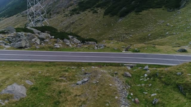 Mountain Pass with drone. Transfagarasan road.