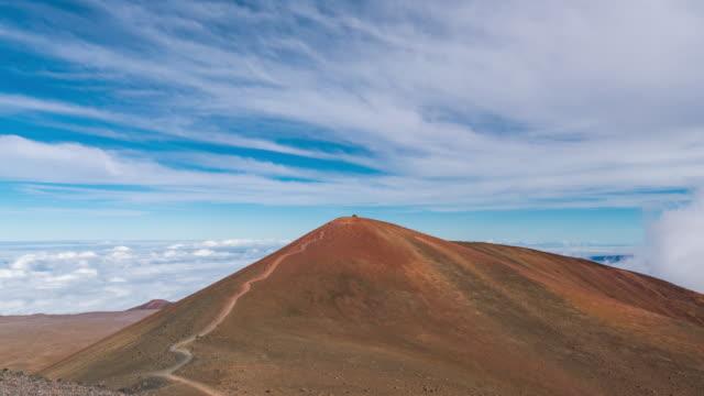 mountain peak of mauna kea observatories, big island hawaii, usa - stratocumulus stock videos and b-roll footage