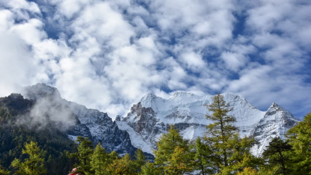 mountain peak, yading national level reserve, daocheng, sichuan province, china. - icefall stock videos and b-roll footage