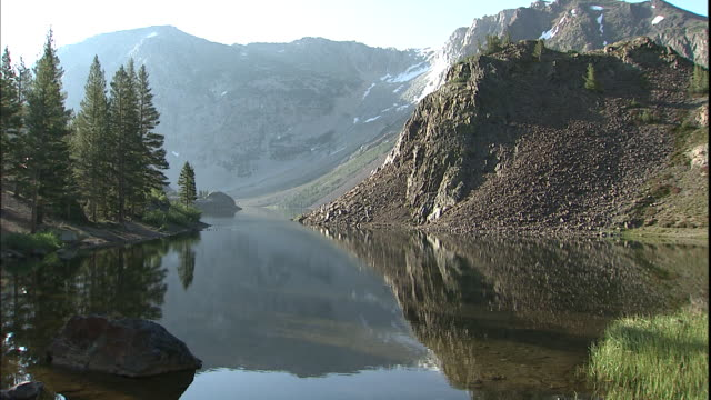 Mountain peaks reflect in a quiet mountain lake.