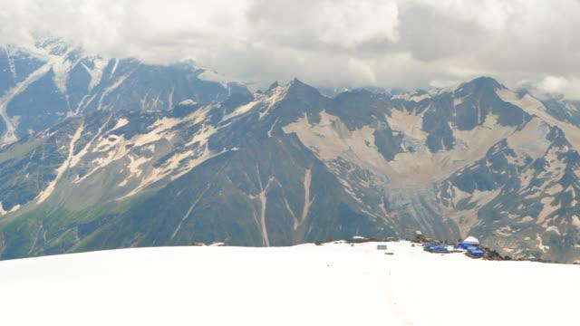 mountain range of caucasus. mount donguz orun bashi glacier - base camp stock videos and b-roll footage