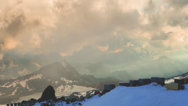 mountain range of caucasus. mount donguz orun bashi glacier - base camp stock videos & royalty-free footage