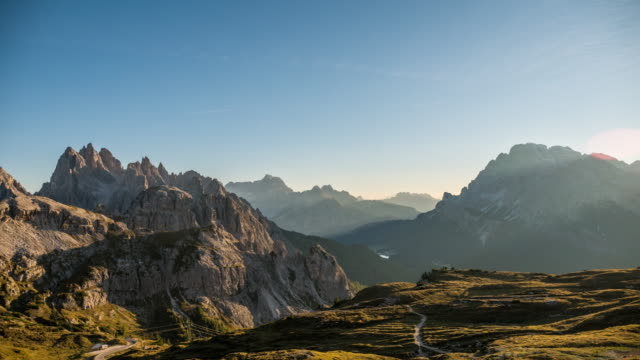 mountain range timelapse at dusk,alps european dolomites ,italy - lockdown viewpoint stock videos & royalty-free footage