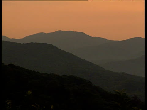 Mountain ranges in silhouette under pale orange sky pan right to sun setting behind clouds above Smoky Mountains