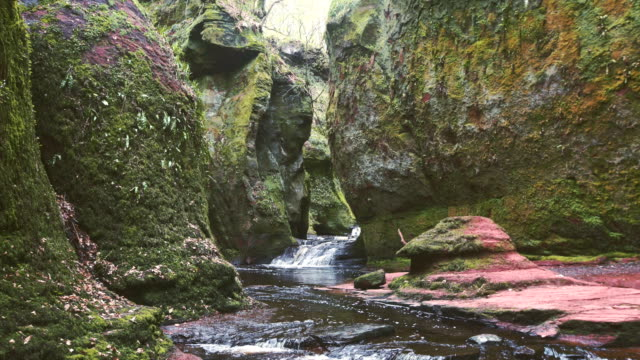 mountain ravine. rocks covered with moss and brake - ravine stock videos & royalty-free footage
