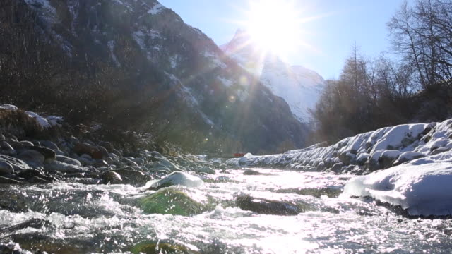 mountain river descends from snowy peaks - spring flowing water stock-videos und b-roll-filmmaterial