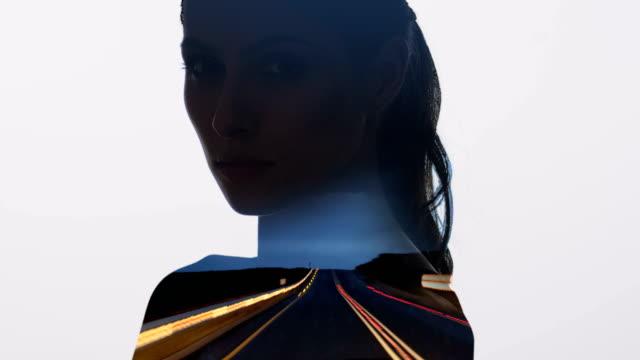 vídeos de stock, filmes e b-roll de estrada montanhosa fechada em forma de mulher atrativa. dupla exposição. - exposição múltipla