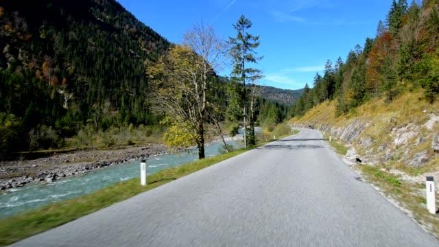 mountain road in autumn, hinterriß, karwendel, tyrol, austria, european alps - mountain road stock videos and b-roll footage